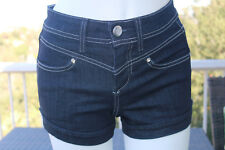 Bebe Size 24 High Waist Denim Shorts Dark Blue Wash Logo Button NWT