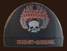 Harley Davidson Men's Gothic Wings Skull Black Cotton black Skull Cap SK10864