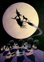 Witch flying broom black cat abstract purple moon Giclee ACEO art print Criswell