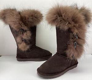 Bearpaw Whitney II Coyote Fur Upper, Merino Wool, Sheepskin Footbed Women's sz 8