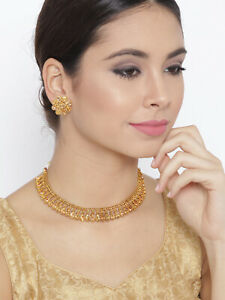Indian Gold Plated LCT Sleek Choker Necklace Earring Women Jewelry Bollywood Set