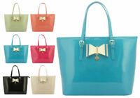 New Womens Designer LYDC Patent Faux Leather Bow Handbag Shoulder Tote Bag Gift