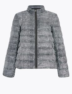 M & S Black White Down & Feather Lightweight Jacket Size 14. NWT RRP £49.50