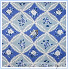 BonEful Fabric Cotton Quilt Purple Blue White Flower Girl French Victorian SCRAP