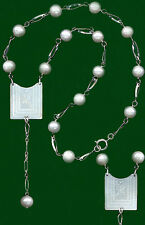 15 PEARL LONG-DROP SILVER NECKLACE~Antique Chine.ENGRAVED FLOWER 2 Sides MoPEARL