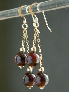Natural GARNET Gemstones, Smooth Round Red Beads, 14ct Rolled Gold Drop Earrings