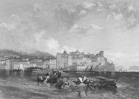 BAIAE BAIA BAY OF NAPLES EMPEROR CALIGULA BRIDGE ~ Old 1832 Art Print Engraving