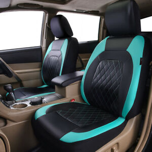 Universal 2 Front Car Seat Covers PU Leather Mint Black Side Airbag Compatible