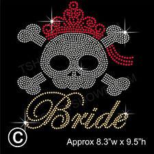 Bride with Skull Party Rhinestone/Diamante Transfer Hotfix Iron on + a Free Gift