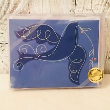 Peace Dove Silk Screen Christmas Cards Box Of 10 Handmade Recycled Usa Blue Nos