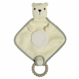 Mary Meyer Knitted Nursery Lovey with Silicone Teether, 10-Inches, Polar Bear