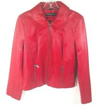 PAMELA McCOY Vintage Womans Red Leather Bikers Jacket Full Zip Size Small