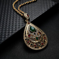 KE_ AG_ ITS- KQ_ Women's Rhinestone Waterdrop Pendant Chain Necklace Moroccan