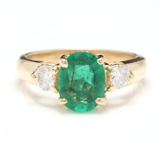2.16Ct Natural Emerald & Diamond 14K Solid Yellow Gold Ring