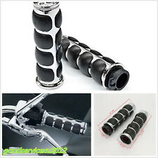 "1 Pair Chrome+Black Motorcycle Handlebar End Grips For 25mm (1"") Left/Right Grip"