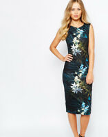 TED BAKER LOUA TWILIGHT FLORAL BLACK MIDI BODYCON DRESS SIZE 0 UK 6 RRP £159.00