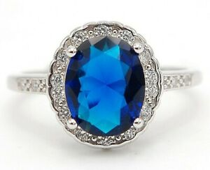 AAA Grade 3CT Blue Sapphire & Topaz 925 Sterling Silver Ring Jewelry Sz 8, M11