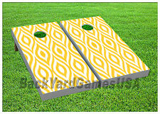 Cornhole Beanbag Toss Game w Bags Game Board Yellow White Pattern Design Set 717