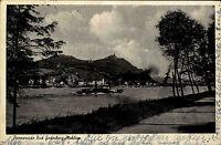 Bad Godesberg 1950 Promenade Mehlen Fluß Rhein Dampfer Schiff gelaufen frankiert