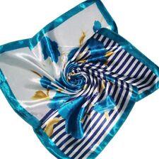 Turquoise stripe flower  Soft Neckerchief Shawl Head Bandanas Square Scarf Satin