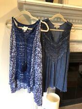 Lot Of 2 Womens Plus 1X X1 Knox Rose Blue Boho Summer Sleeveless Tunics