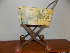 Vintage Coca Cola Children's Wood Metal Shopping Cart Basket Toy Buggy 1950 L816