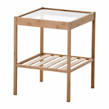 Glass Bedside Table Wood Bamboo Shelf hard wearing natural material BRAND NEW