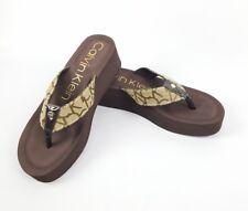 Calvin Klein Women's Wedge Flip Flops Brown Tan 2 Inch Heels Size 9