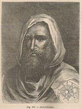 A2415 Ritratto di Abd el-Kader - Xilografia - Stampa Antica del 1895 - Engraving