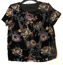 BLACK  BROWN VELVET FLORAL TOP BLOUSE SIZE M VERO MODA FULLY LINED PARTY EVENING