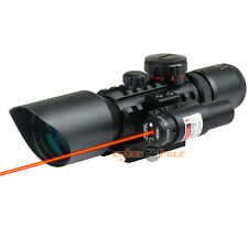 3-10x 40 Tactical Reflex Red Green Dot Reticle Sight Rifle Scope + Red Laser