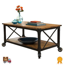 Industrial Accent Coffee Table with Wheels Storage Shelf Living Room Wood Rustic