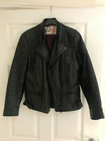 Vintage Womens Wolf Black Leather Motorcycle Jacket Biker Small 34 XS