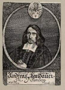 c1680 Andreas Landauer (1622-1663) Nürnberg Kupferstich-Porträt