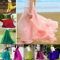 UK Women Beach Party Chiffon Pleated Long Maxi Skirt Size 6 8 10