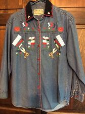 Ugly Tacky Back To School Denim Shirt Embroidered Sz L Teacher Books Ruler