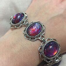 Silver Tone Dragons Breath Mexican Glass Fire Jelly Galaxy Opal 18x13mm Bracelet