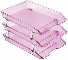 Acrimet Facility Triple Letter Tray Frontal (Clear Pink Color)