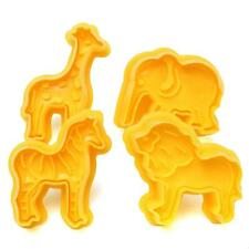 4pcs Jungle Forest Animals Cookie Fondant Clay Cutter Plunger Mold