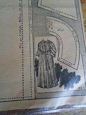 """PATRON ORIGINAL POUR LA POUPEE BLEUETTE """"PEIGNOIR DE BAIN AOUT 1912"""