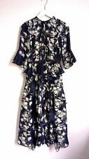 H&M Conscious Exclusive 2017 Dark Blue Floral Patterned Silk Dress UK12 EU38