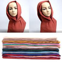 Women Shimmer Scarf Chiffon Hijab Pleated Scarves Shawl Muslim Head Wrap Muffler