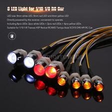 8 LED Light Kit 2 White 2 Red 4 Yellow for 1/10 1/8 Traxxas HSP HPI RC Car X6P7