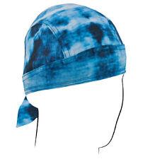Tye Dye Blue Doo Rag Sweatband Headwrap Biker Skull Cap by Zan Headgear Road Hog