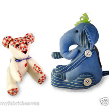 2 X Sewing PATTERNS, Teddy Bear & Elephant Soft Toy Memory Bear/Elephant Denim
