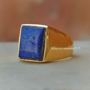 Natural Lapis Lazuli Ring 925 Solid Sterling Silver Yellow Gold Fill Ring Mens