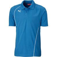 Kids Boys Puma Foundation Logo Polo Tee T-Shirt in Blue/White