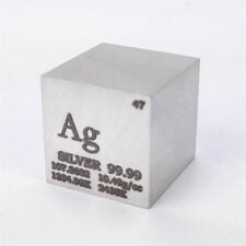 1 inch 25.4mm Silver Metal Cube 99.99% 171grams Engraved Element Periodic Table