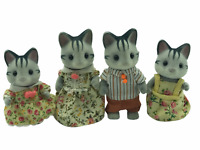 Calico Critters Sylvanian Families Harvey Fisher Grey Cat Family RARE HTF FLAIR