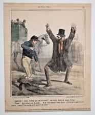Jockey Ivre Mort Chevaux CHAM LITHOGRAPHIE COULEURS pl. 157 Charivari 1860